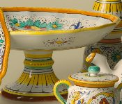 Deruta, Italy, Center Table Fruit Bowl on Pedestal