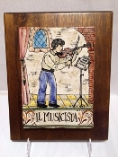 The Violinist Tile on wood, 9x9""