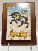 Taurus Astrological Tile on wood 8x10""