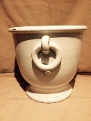 "Antique White planter w/Ring Hndls - 15 x 13""h"