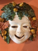 "Patio Winter Wall Mask  - 7 x 7"", Deruta, Italy"