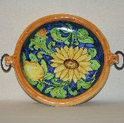 Round Sunflower Bowl w/ring hndls, 10'd (Out-of-stock)