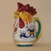 MOD Rooster Pitcher 1qt. Ricco Pattern, Deruta, Italy