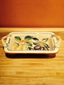 Mari - Footed Bread Basket - Miele pattern - 15x7x4h