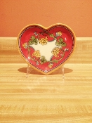 "Heart Tray 5x6"" - Coral pattern - Deruta, Italy"