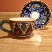 "Classic Geometry,  Large Latte Cup and Saucer 7x3-1/2""h"