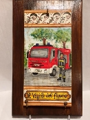 "MOD Fireman Tile on wood 9x15"", Deruta, Italy"