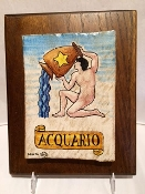 Aquarius Astrological Tile on wood 8x10""