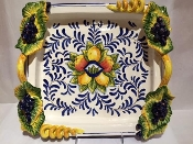 IMA Center Table Pc w/Hndls Grapes Applique 15x15""