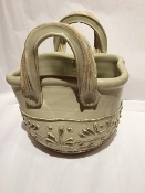 "IMA Antique Biege Handbag - Planter/Magazine Rack 8x12x12""h"