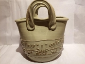 "IMA Antique Biege Handbag - Planter/Magazine Rack 6x8x9""h"