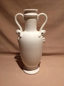 "Antique White Vase w/Handles & Grape relief 6x12""h"