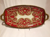 "Rosso Pompei - Footed Center table tray w/handles - 21x11x4""h"