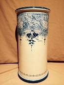 "Blue on white Umbrella Stand 11 x 21""h, Montelupo, IT"