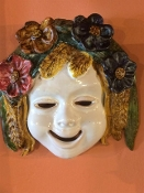 "Patio Summer Wall Mask  - 7 x 7"", Deruta, Italy"