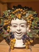 "Patio Bacchos Wall Mask  - 12 x 12"", Deruta, Italy"