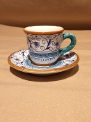 MOD Espresso Cup & Saucer - Penny Pattern, Deruta, Italy
