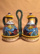 "Classic Geometry, Oil & Vinegar Cruet - 4x8x7""h"