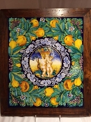 "Francesca Niccacci - Tile with Cerubs and Fruit - 18x21""h"