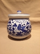 "MOD Garlic Jar 4x6""h Arabesco Blue, Deruta, Italy"