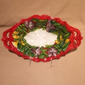 Lilium Red - Oval Tray - 8.5x14""