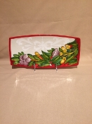 "Lilium Red - Rectangular Tray - 5.5x12"" Special order"