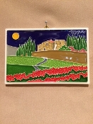 Luciano - Tuscany Countryside Poppy Tile 4 x 6 inches